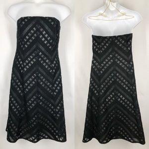 Ann Taylor Strapless Black Silk Brocade Overlay 12